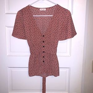 Blush Pink Floral Blouse with Tie Waist